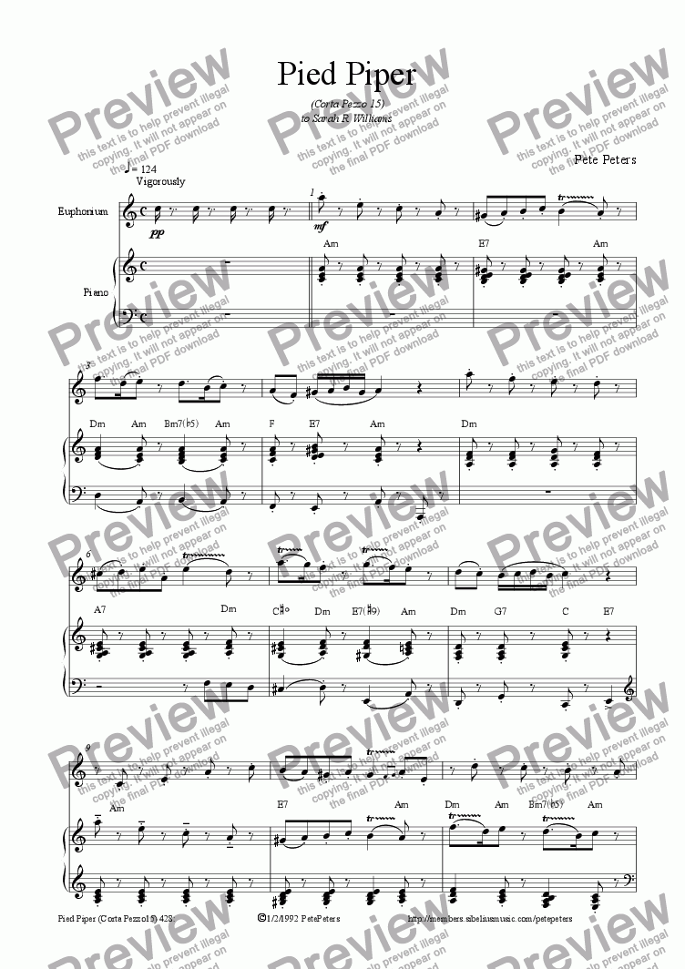 page one of Pied Piper [Euphonium + Piano]