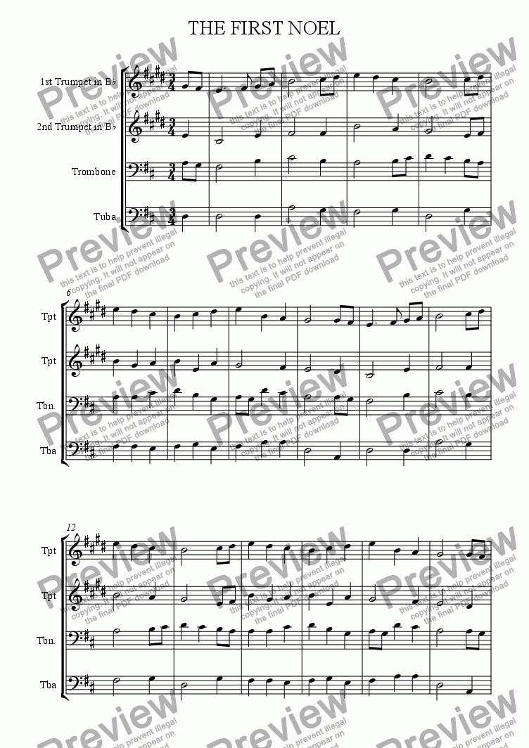 page one of First Noel (Brass Quartet)