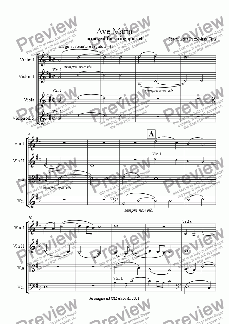 page one of Ave Maria for string quartet