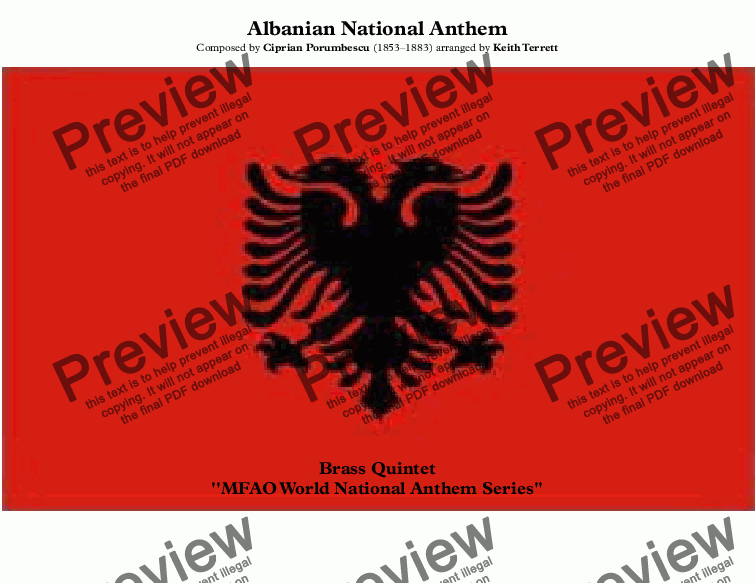 page one of Albanian National Anthem (Himni i Flamurit - Hymn to the Flag)  World National Anthem Series for Brass QuintetASALTTEXT