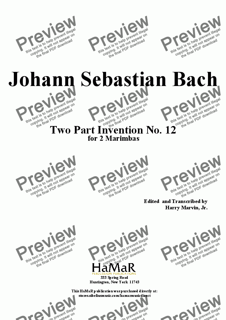 page one of J. S. Bach Two Part Invention No. 12 for 2 Marimbas