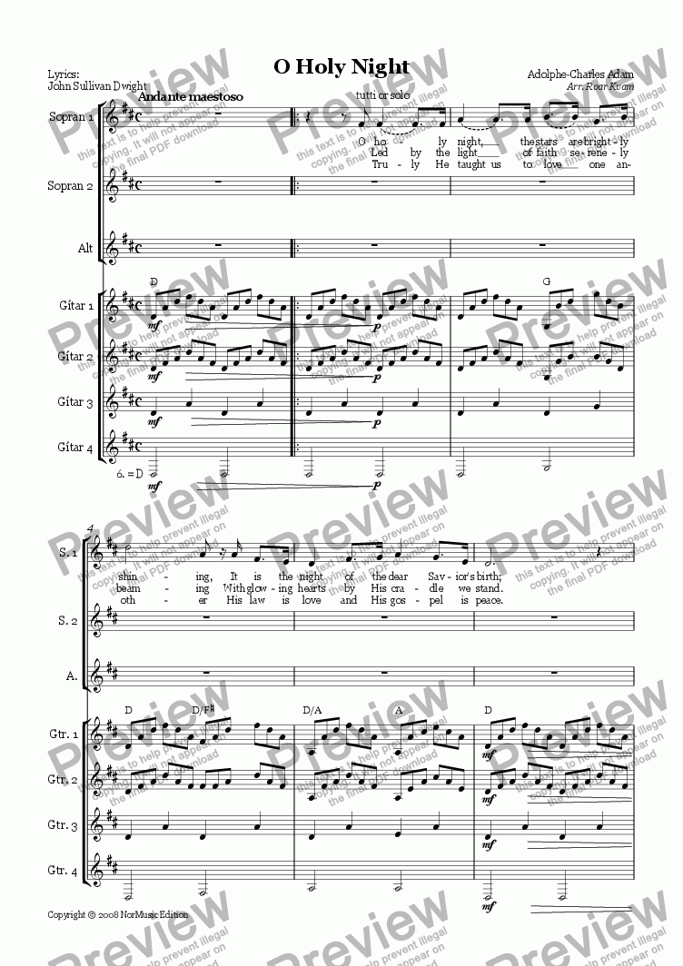 Adam O Holy Night Ssa Choir Sopran Solo Ad Lib And Guitar Ensemble For Choir By Adolphe Charles Adam Sheet Music Pdf File To Download