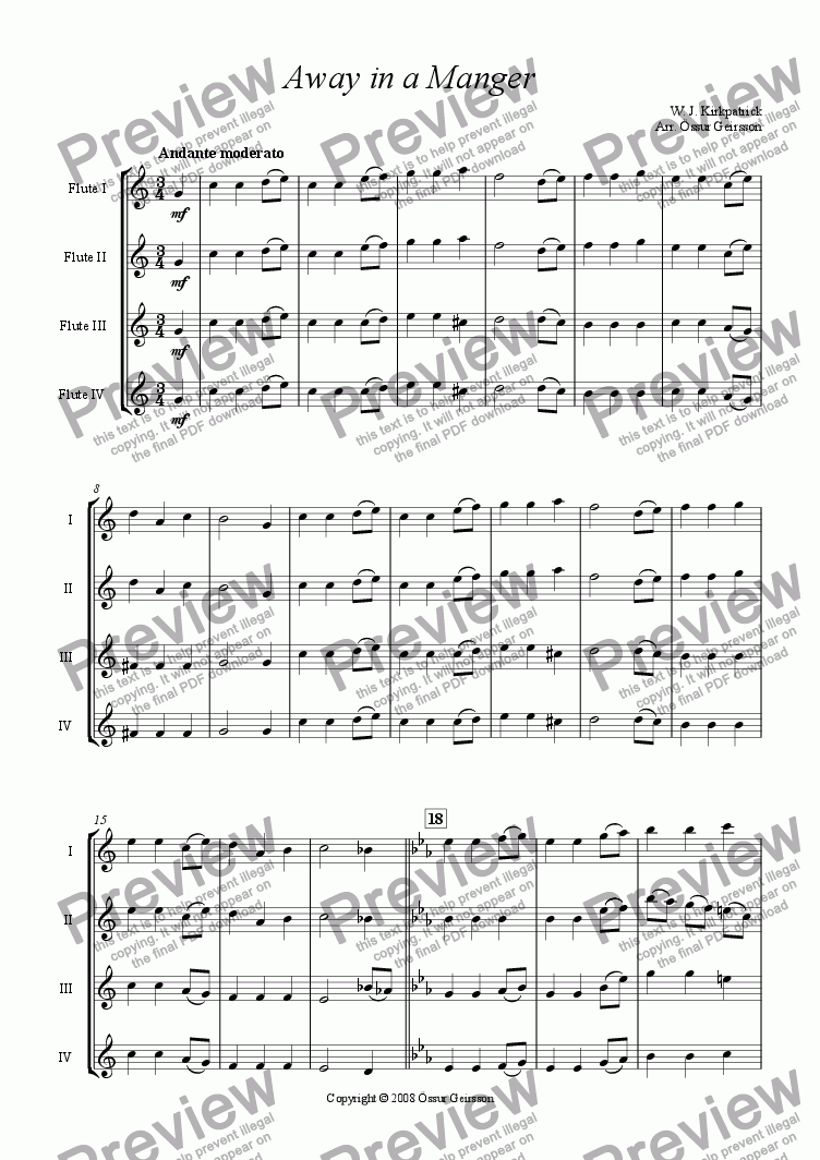 page one of Away in a Manger (Flute quartet)
