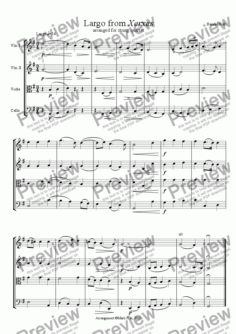 page one of Xerxes for string quartetASALTTEXT