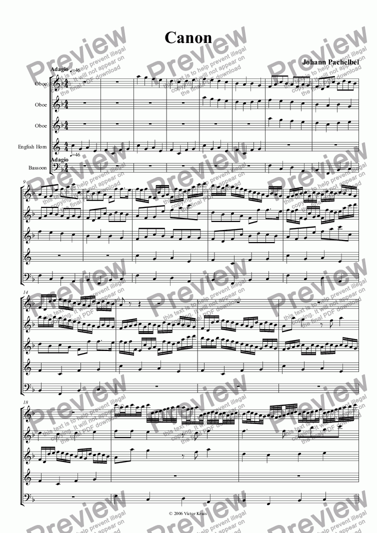 page one of Pachelbel - Canon for double reed ensemble