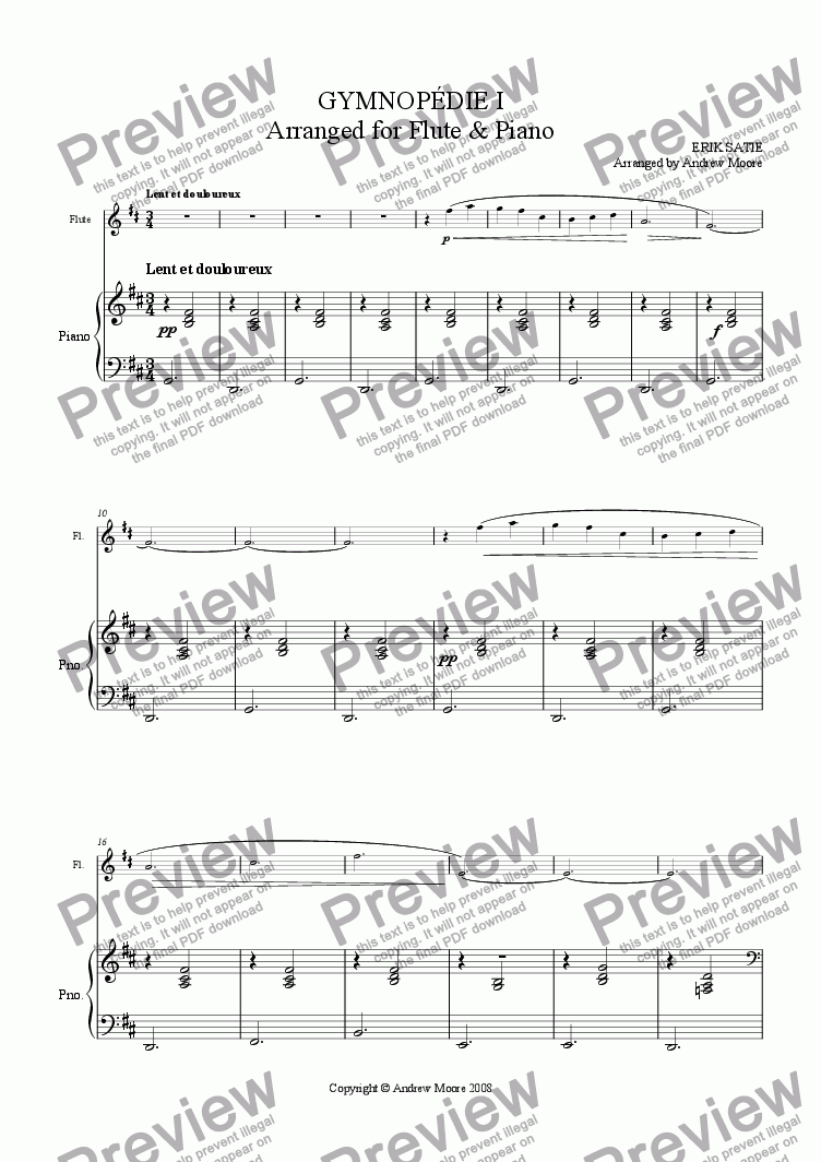 page one of Gymnopedie I for Flute & Piano
