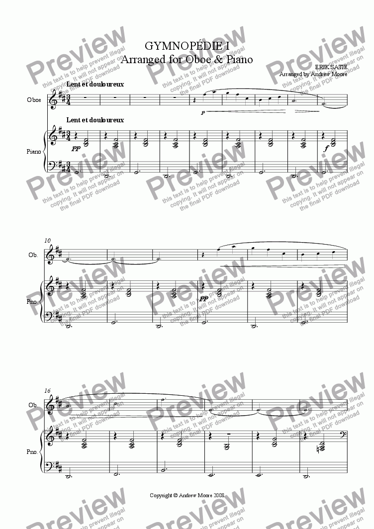 page one of Gymnopedie I for Oboe & Piano