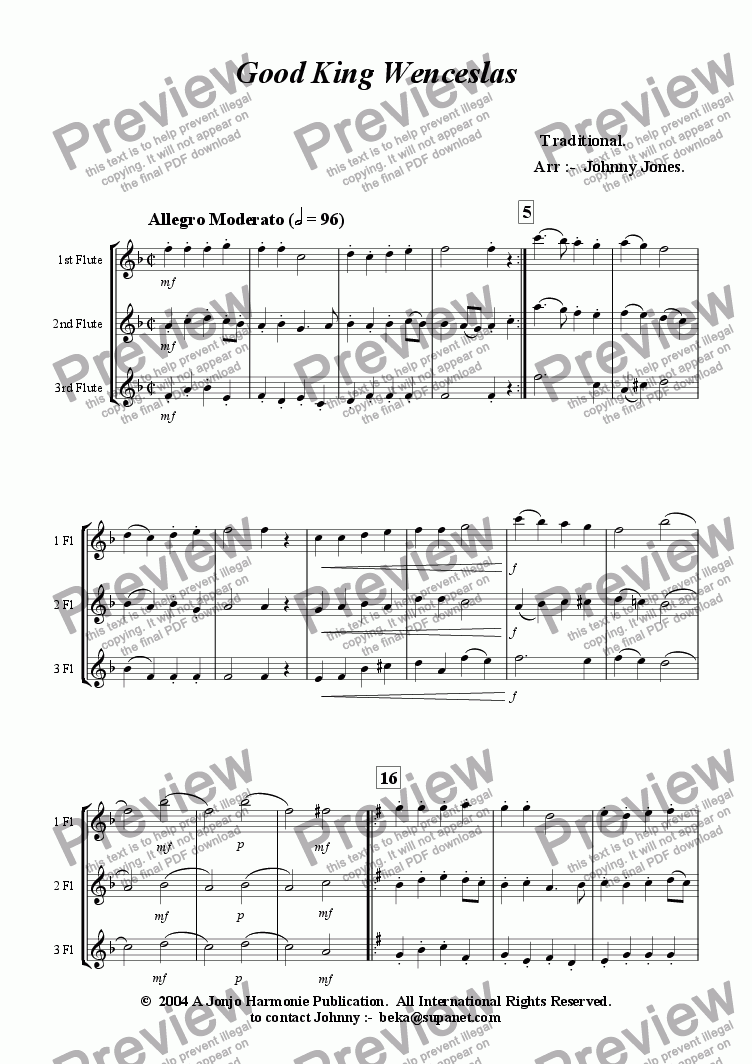 page one of Good King Wenceslas   (Varied, 3 Concert Flutes)