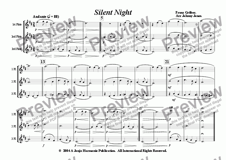 page one of Silent Night   (3 Concert Flutes)