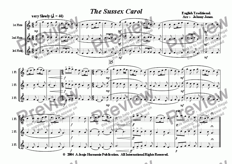page one of Sussex Carol, The   (Christmas,  3 Concert Flutes)ASALTTEXT