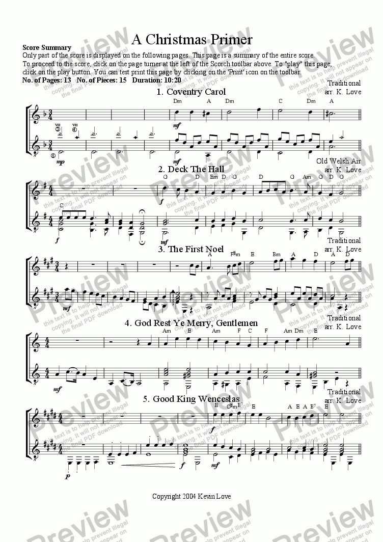 page one of A Christmas Primer (Violin and Guitar)