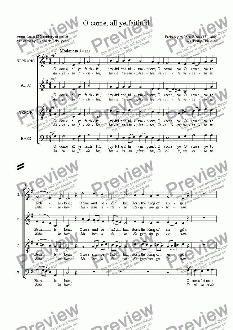 page one of O come, all ye faithful (SATB)