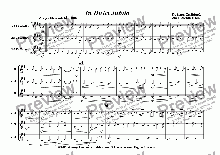 page one of In Dulci Jubilo   (Christmas  3 Bb Clarinets)