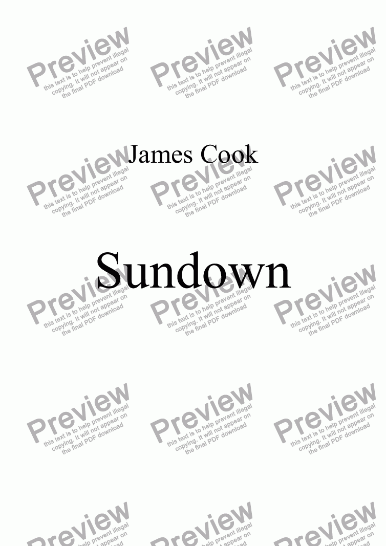 page one of Sundown