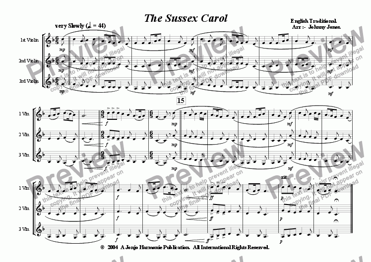 page one of Sussex Carol, The   (Christmas,  3 Violins)