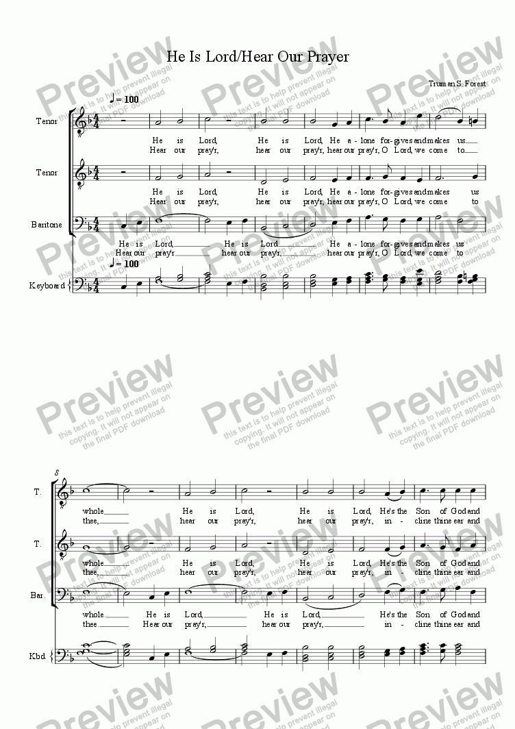 page one of He is Lord - Hear our Prayer (TTB)