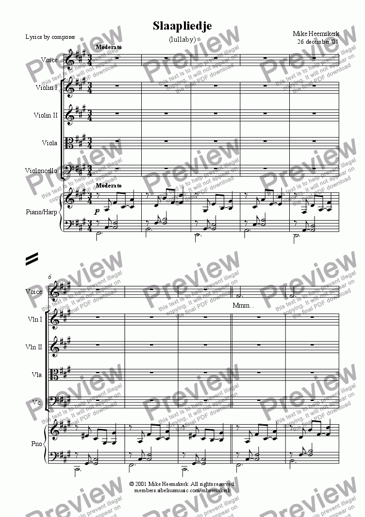 page one of Slaapliedje / lullaby