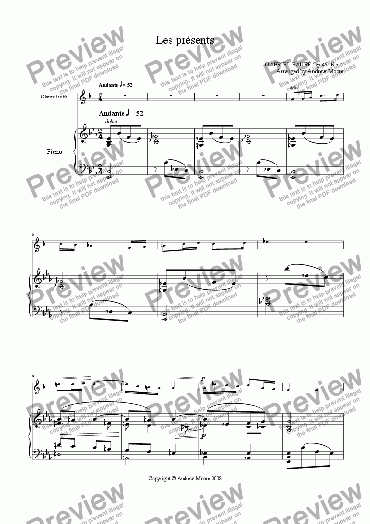 page one of 'Les Presents' arr. for clarinet & piano