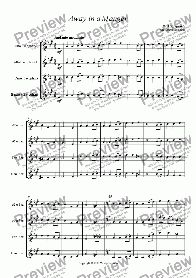 page one of Away in a Manger (Saxophone Quartet)