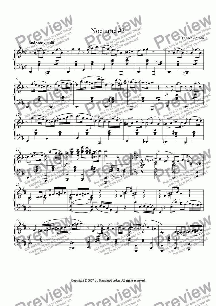 page one of Nocturne No. 3 in D Minor (live mp3!!!)
