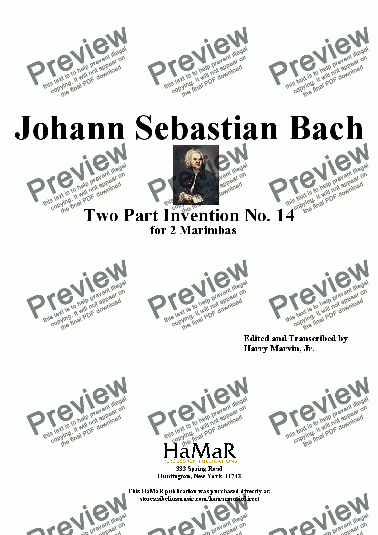 page one of J. S. Bach Two Part Invention No. 14 for 2 Marimbas