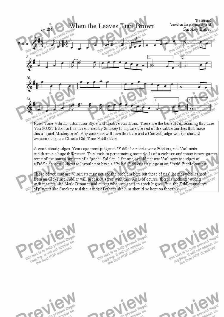 page one of When the Leaves Turn Brown