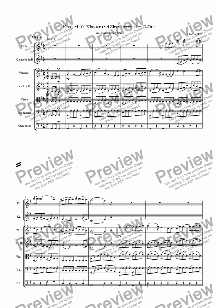 page one of Piano Concert Part 1 Allegro Strings/Fl/Cl
