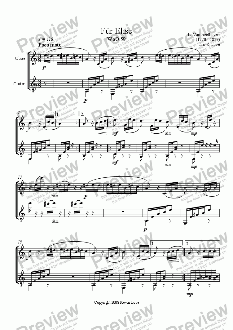 page one of Fur Elise (Oboe and Guitar)
