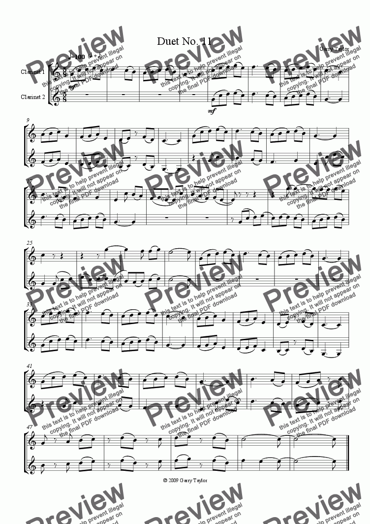 page one of Duet No. 11 for Clarinets