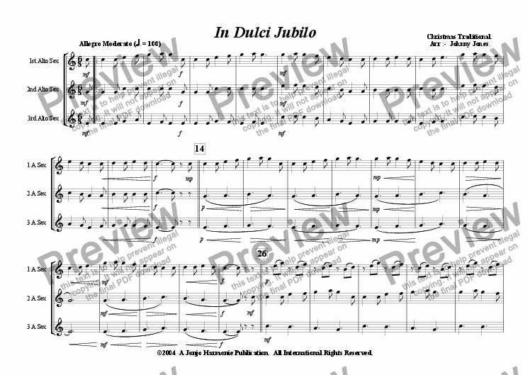 page one of In Dulci Jubilo   (Christmas  3 Saxophones  AAA  or  AAT)ASALTTEXT