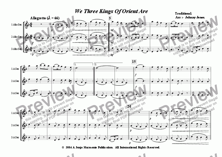 page one of We Three Kings   (3 Saxophones  AAA and, or  AAT)