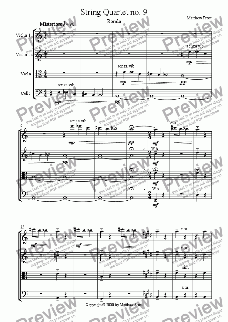 page one of String Quartet no. 9ASALTTEXT