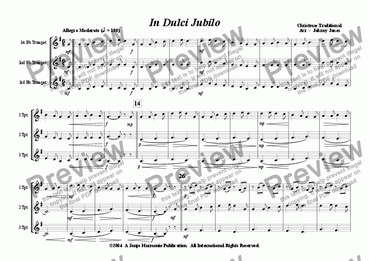 page one of In Dulci Jubilo   (Christmas  3 Bb Trumpets)