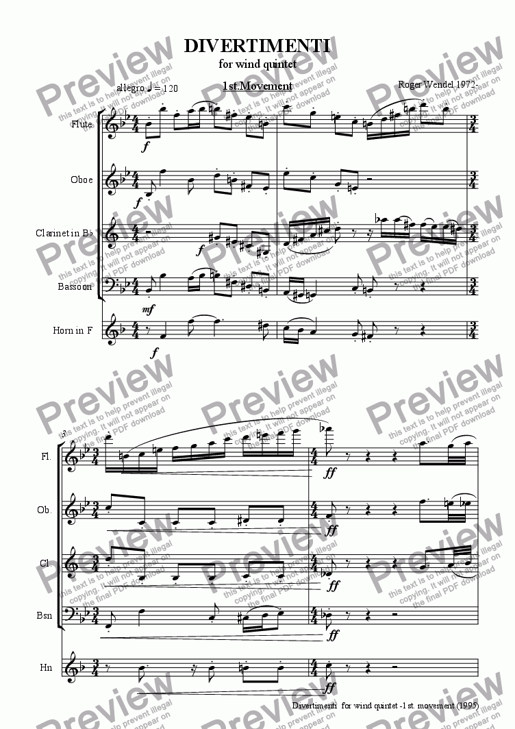 page one of Divertimenti for wind quintet (First movement)