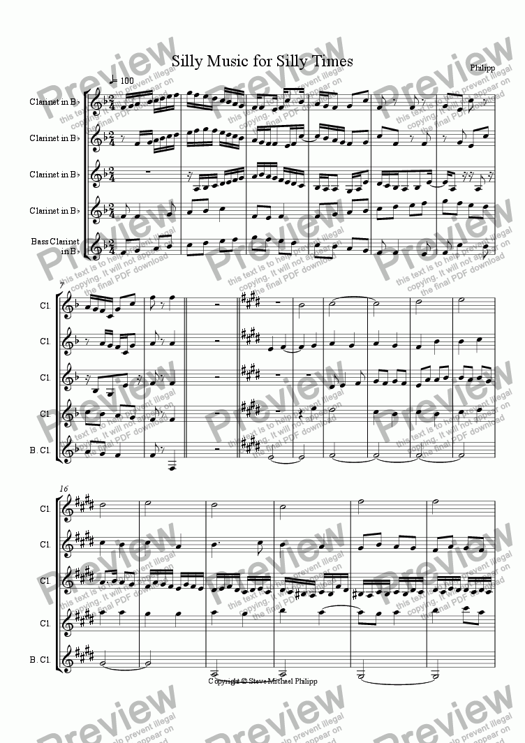 page one of Silly Music for Silly Times