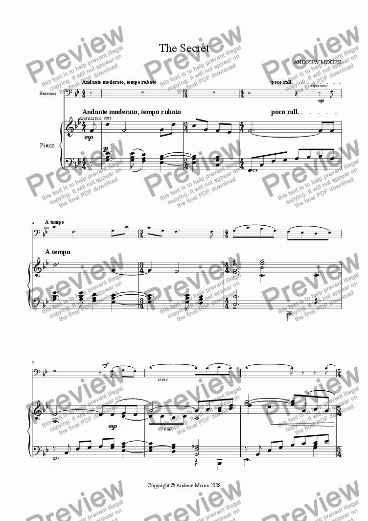 page one of 'The Secret' for Bassoon & piano