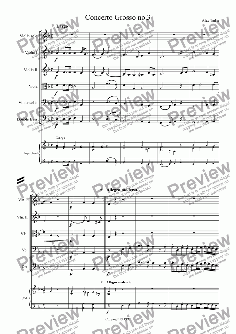 page one of Concerto grosso no.3