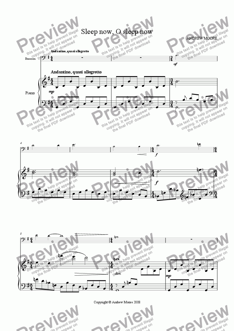 page one of 'Sleep now, O sleep now' for Bassoon & piano