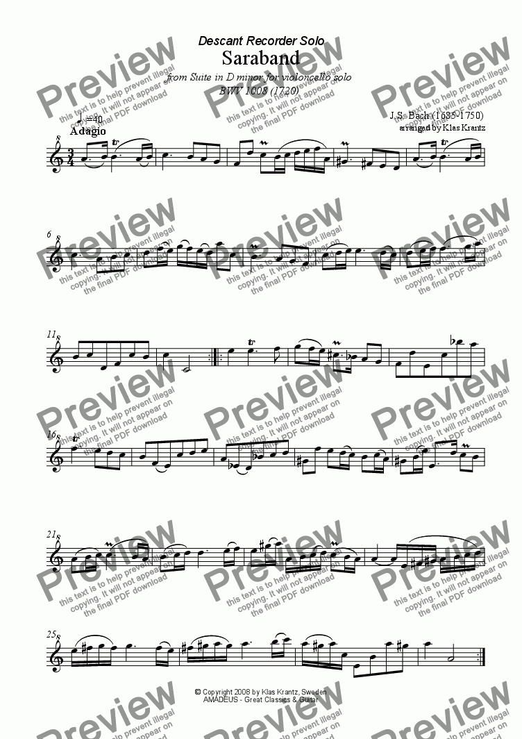 page one of Sarabande Suite No. 2, BWV 1008 for recorder solo