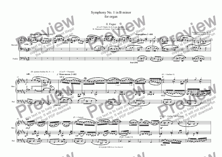 page one of Symphony No. 1 in B minor for organ, Op. 10 - II. Fugue