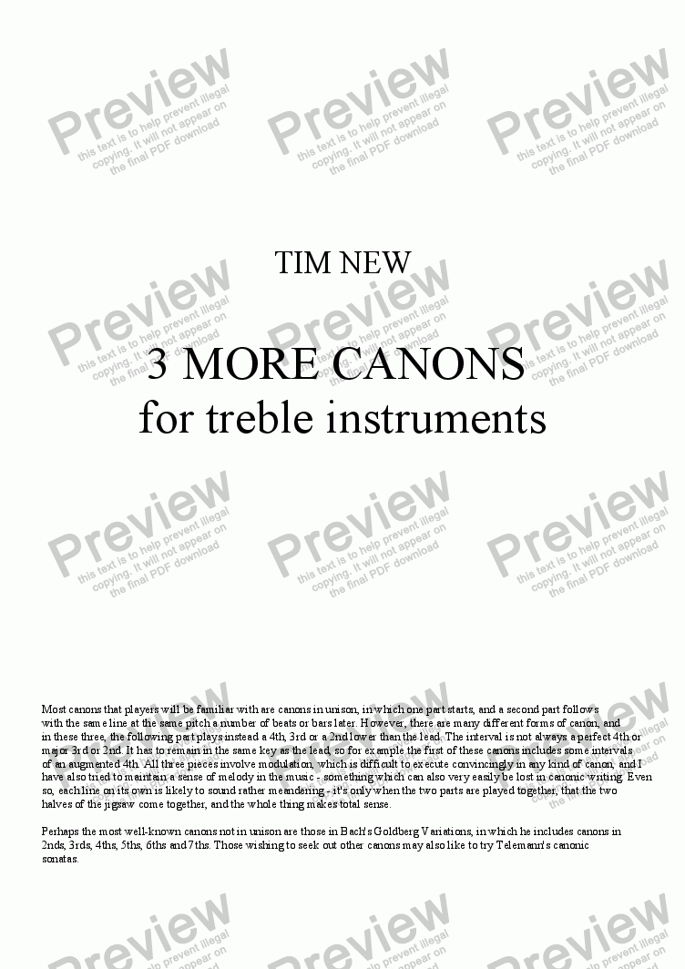 page one of 3 MORE CANONS for treble instruments