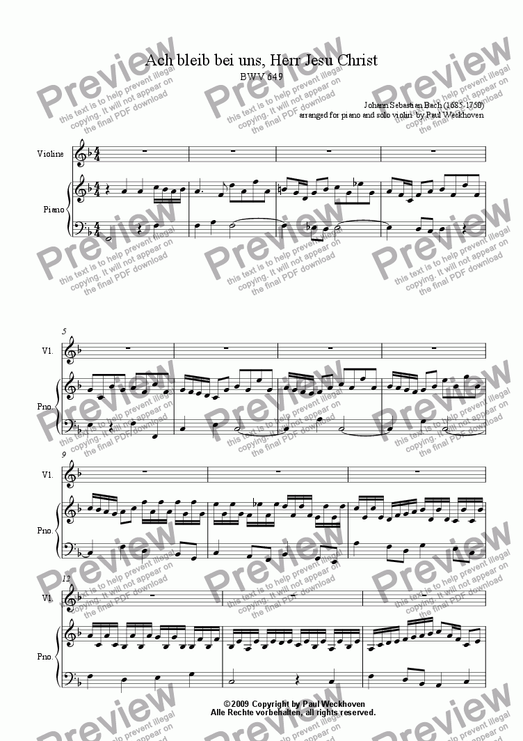 page one of Ach bleib bei uns, Herr Jesus Christ, BWV 649 (solo violin and piano)