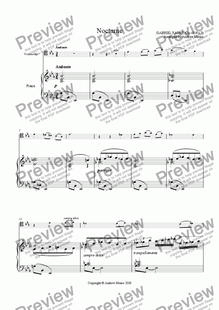 page one of 'Nocturne' arr. for Cello & pianoASALTTEXT