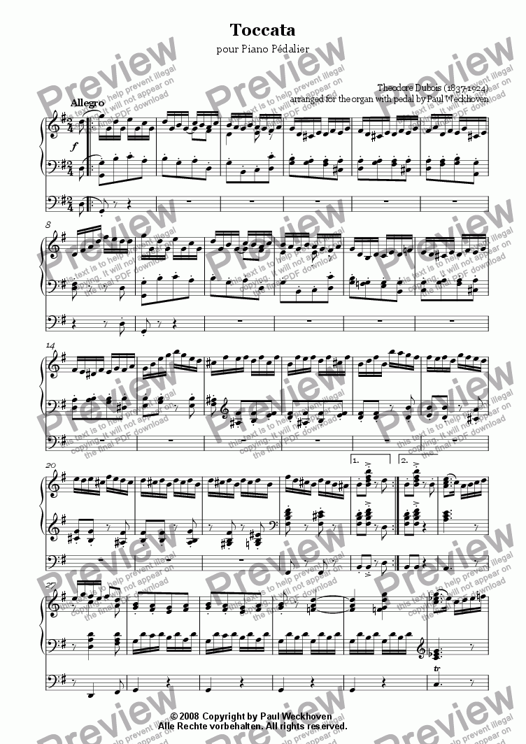 page one of Toccata (Dubois)