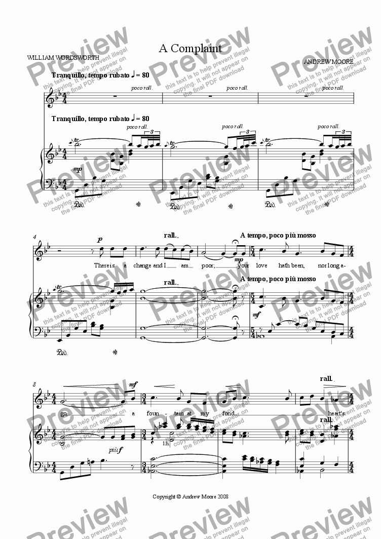 page one of 'A Complaint' for Voice & piano