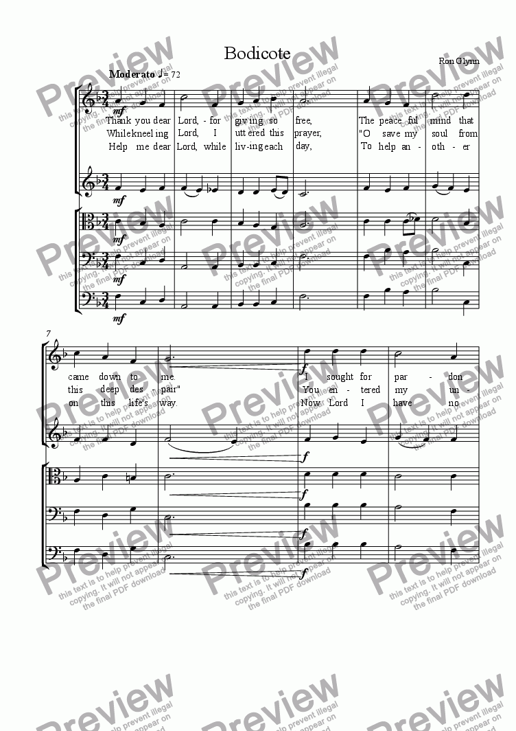 page one of Bodicote (Hymn Tune) Orchestra