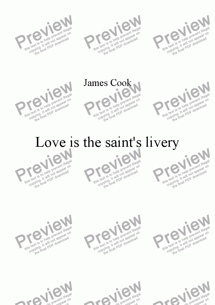 page one of Love is the saint's livery