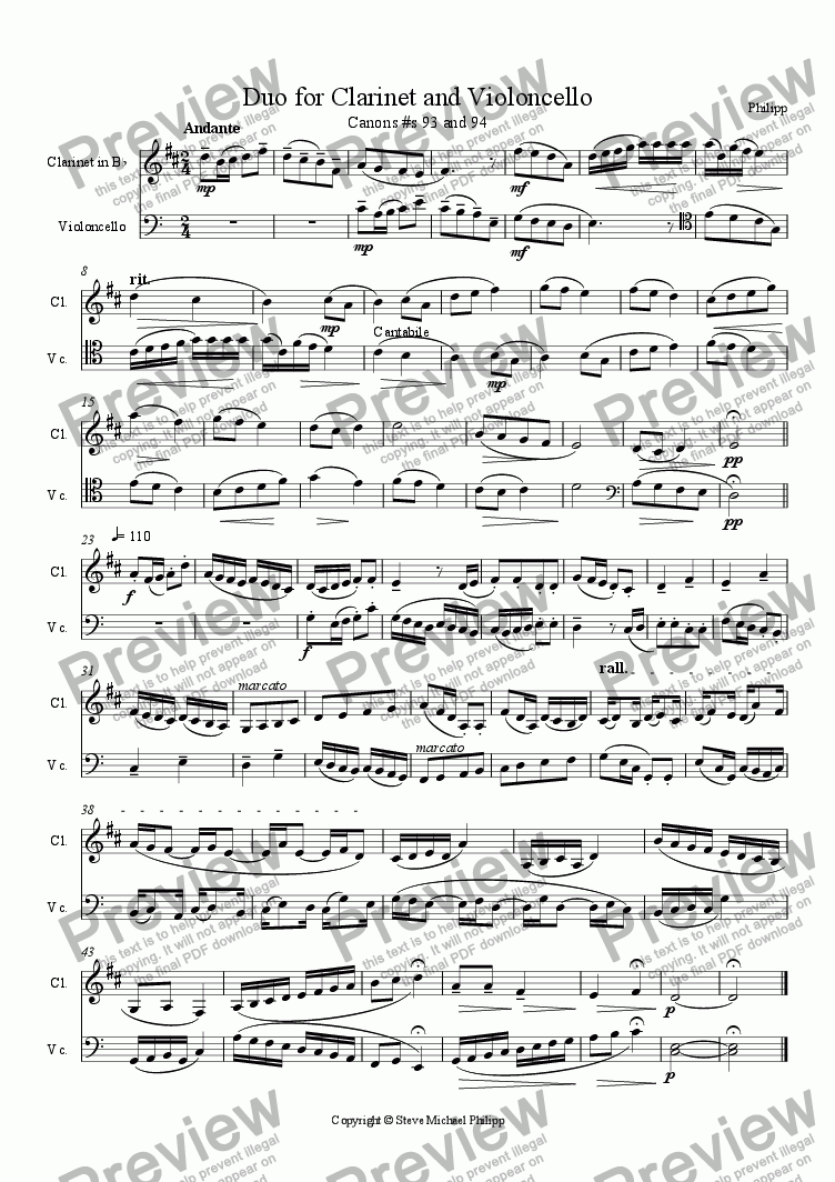 page one of Duo for Clarinet and Violoncello