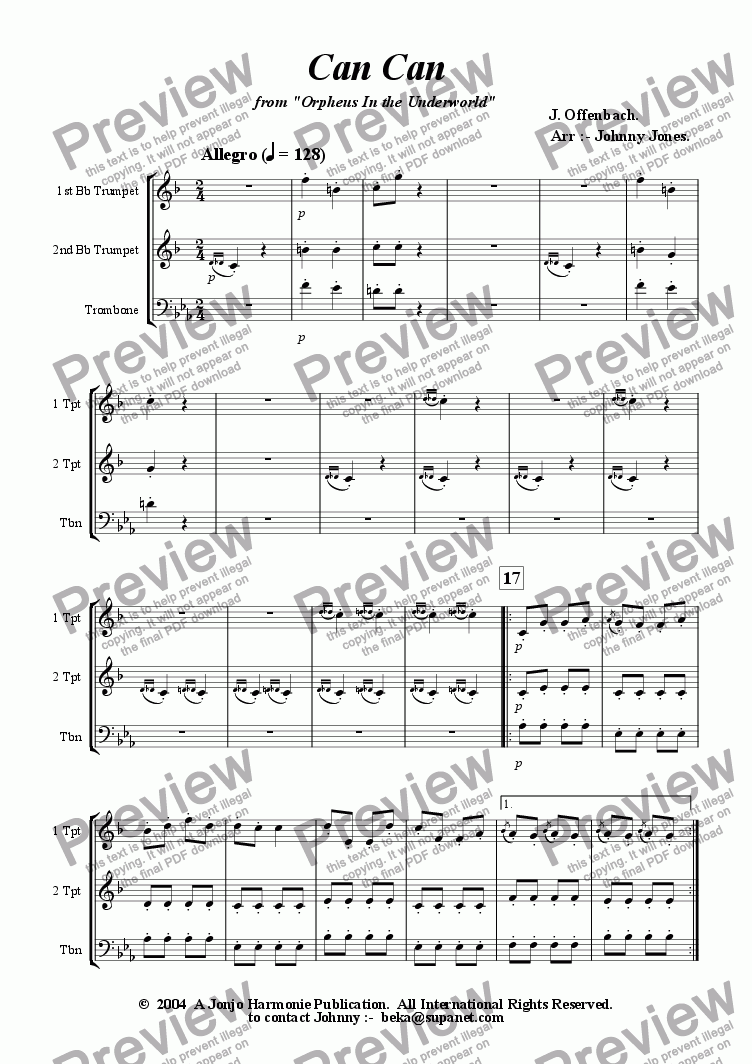 page one of Can Can  from Orpheus In the Underworld  (3 Brass  2 Trumpets and Trombone)