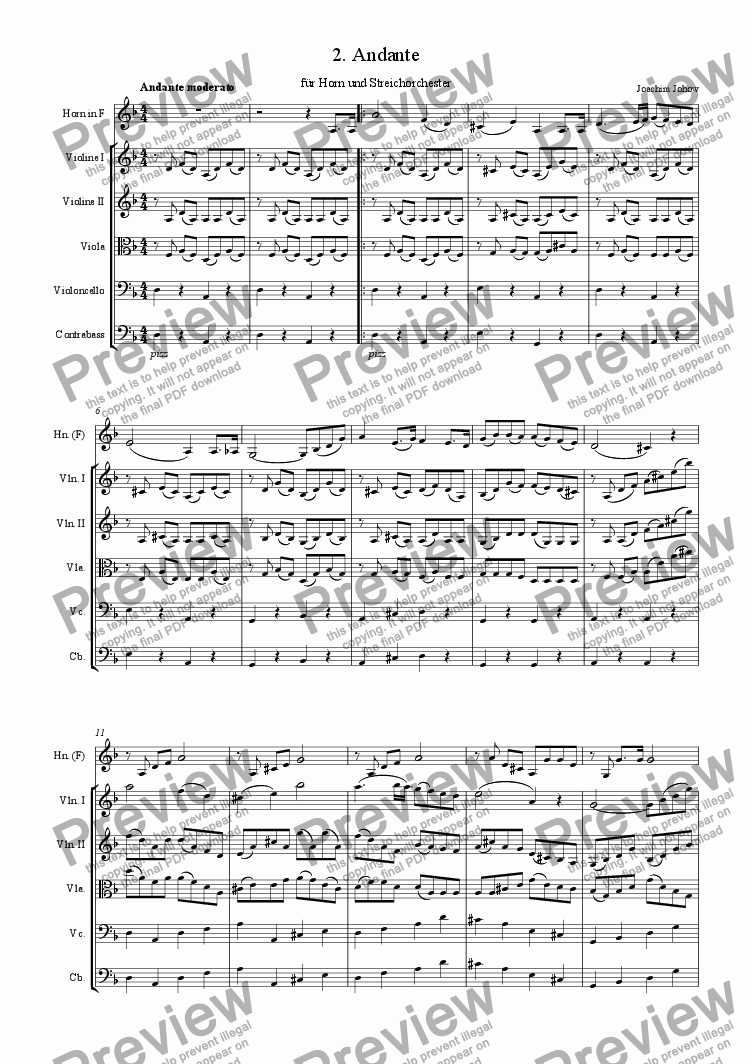 page one of Andante 2 for Horn and String Orchestra